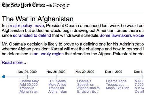 Google's Living Story for Afghanistan