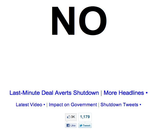Is the government shut down yet?