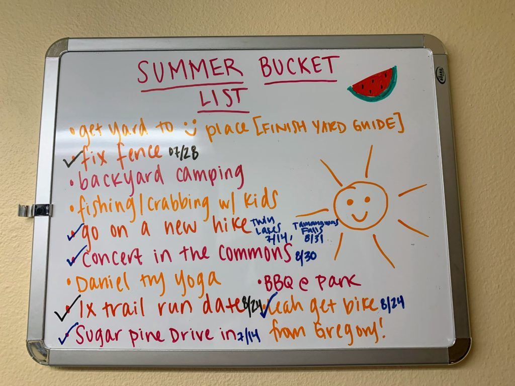 Summer 2019 Bucket List